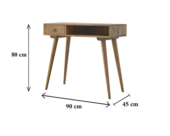 Picture of Nordic Style Solid Wood Writing Desk with Open Slot & Drawer