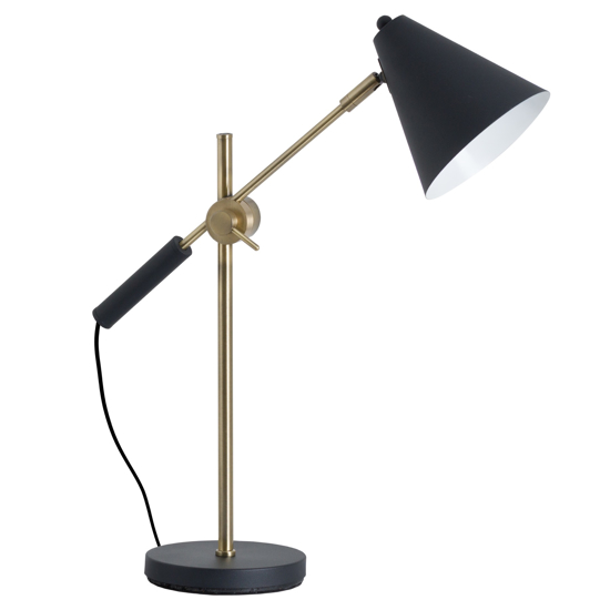 Picture of Black And Brass Adjustable Desk Lamp With Cone Shade