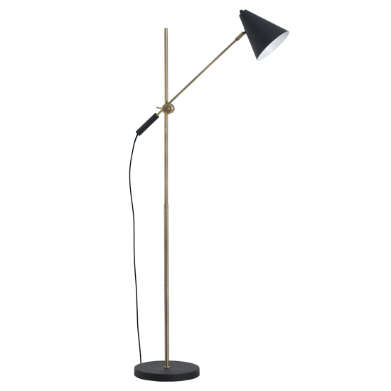 Picture of Black And Brass Adjustable Floor Lamp With Cone Shade