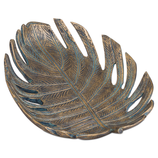 Picture of Antique Bronze Cheese Plant Leaf Dish