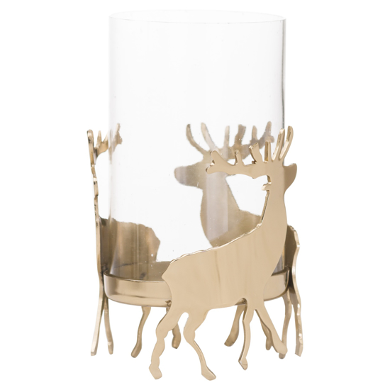 Picture of Brass Stag Hurricane Lantern
