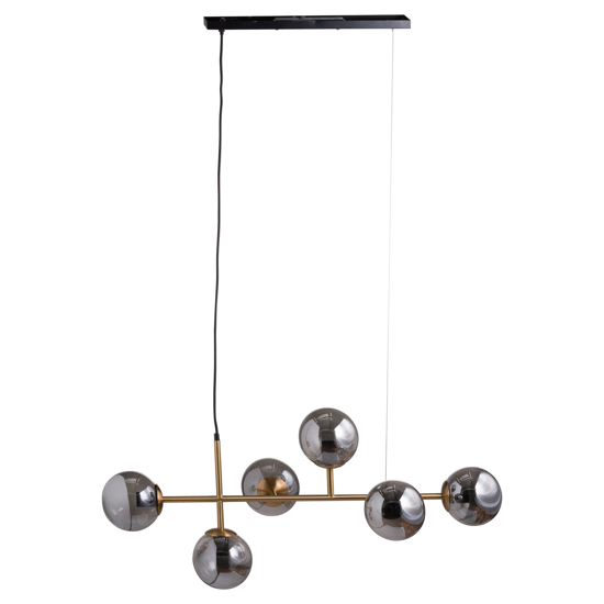 Picture of Six Globe Smoked Glass And Brass Detail Hanging Light