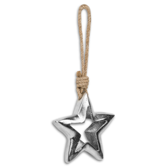 Picture of 4 Pack - Casted Silver Cut Out Star Rope Hanging Decoration