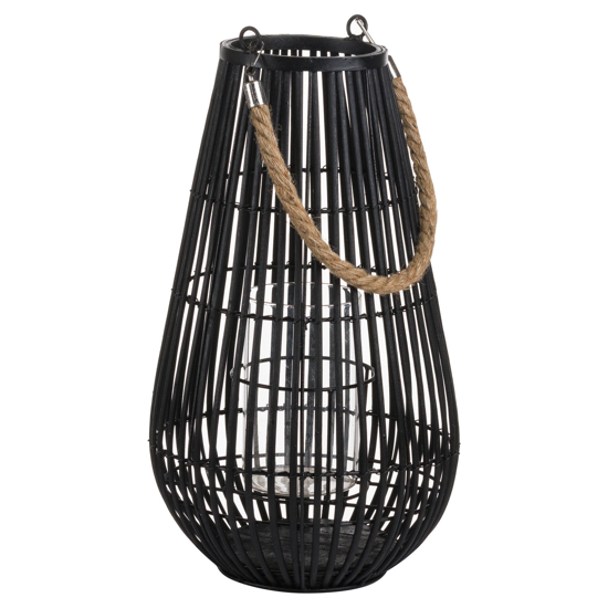 Picture of Domed Rattan Lantern With Rope Detail