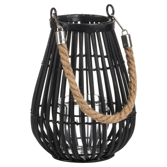 Picture of Large Domed Rattan Lantern With Rope Detail