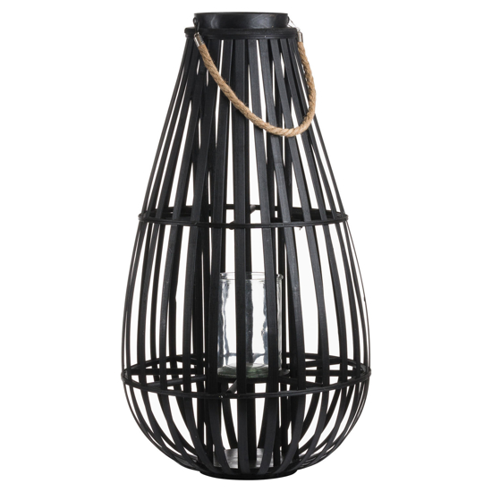 Picture of Large Floor Standing Domed Wicker Lantern With Rope Detail