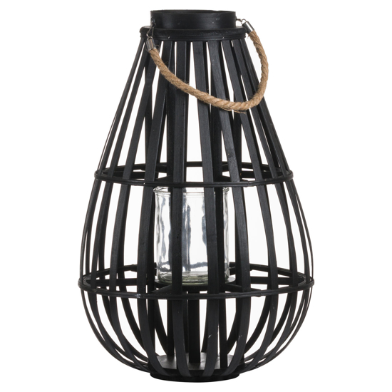 Picture of Floor Standing Domed Wicker Lantern With Rope Detail