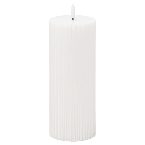 Picture of Luxe Collection Natural Glow 3x8 Textured Ribbed LED Candle