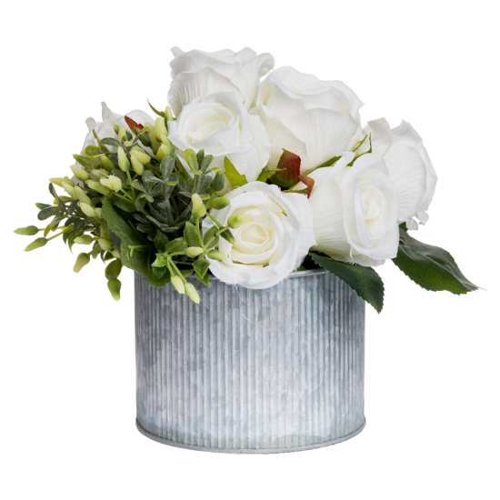 Picture of White Rose Bouquet In Tin Pot