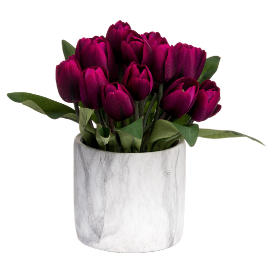 Picture of Purple Tulips In Marble Pot