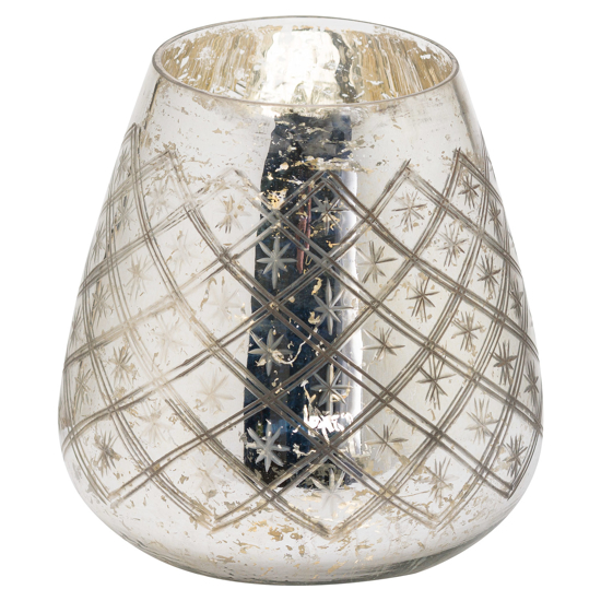 Picture of The Noel Collection Silver Foil Effect Candle Holder Large