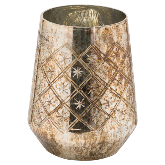 Picture of The Noel Collection Burnished  Medium Etched Candle Holder