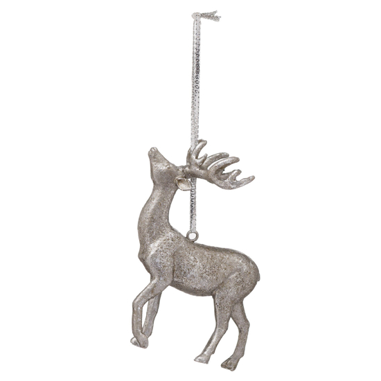 Picture of 4 Pack - Hanging Silver Stag Decoration