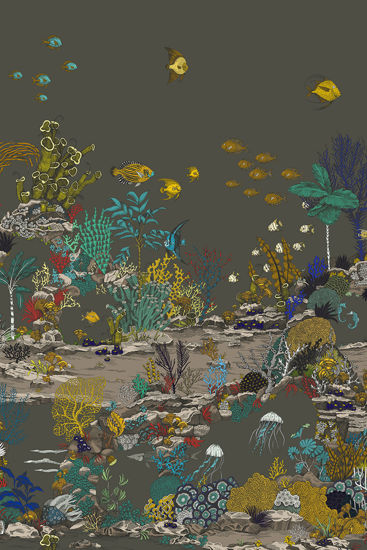 Picture of WALLPAPER SAMPLE - Underwater Jungle A3 - Graphite & Jewel Highlights